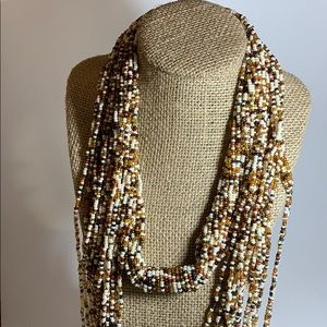 Torsade seed bead scarf necklace